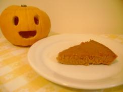 A slice of pumpkin pie filling